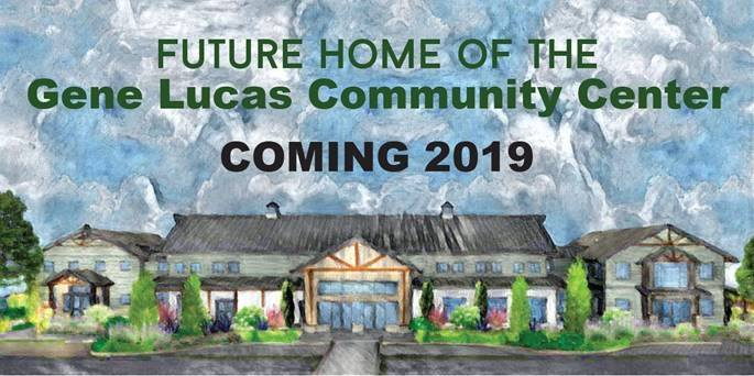 Future home of the gene lucas community center coming 2019 water color image