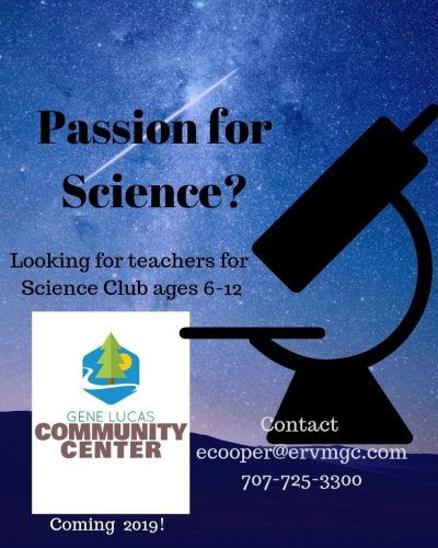 Looking for science club teachers, ages 6-12